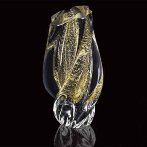 Vaso Murano Cristal com ouro 24K