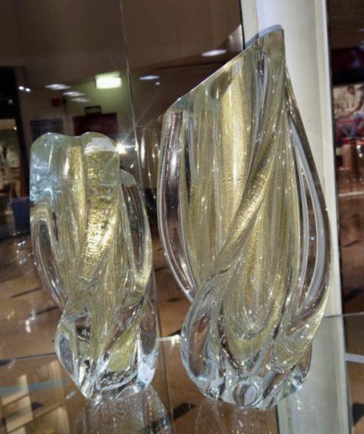 vaso murano cristal com ouro