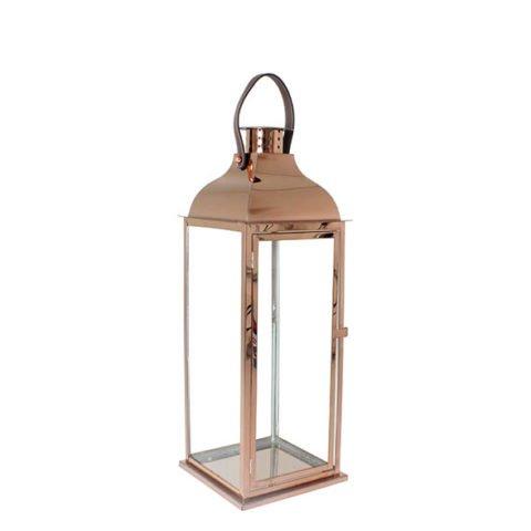 Lanterna decorativa em aço inox bronze