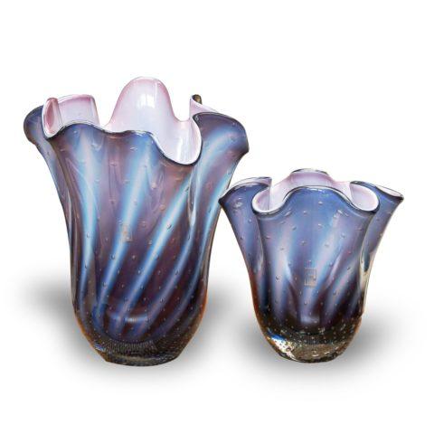 vaso de cristal murano violeta