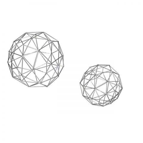 Escultura Geométrica Prata