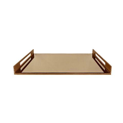 Bandeja Retangular Espelhada Bronze
