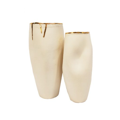 Vaso porcelana com ouro - Série Movimentos Dourados