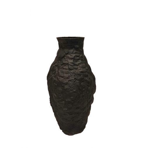 Vaso Porcelana Preto Fosco- modelo Edros Pedra